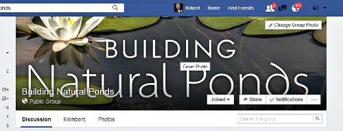Building natural ponds face book group
