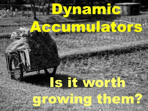 Dynamic accumulators - Is it worth growing them?